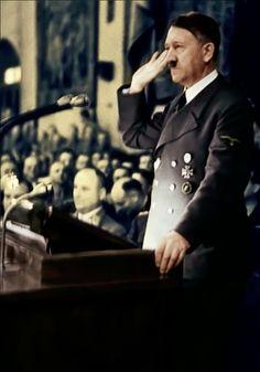 Adolf Hitler in Berlin's Sportpalast in January, 1942.
