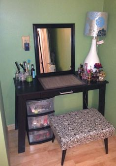 DIY Vanity for under $75 Mainstays Writing Table, Ebony Ash- Table, Lamp, Mirror, and Storage all from WalMart