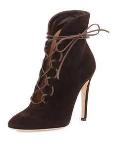 "Gianvito Rossi suede bootie. 4.3"" covered heel. Round toe. Leather lace-up front. Angled topline. Smooth outsole. Made in Italy."