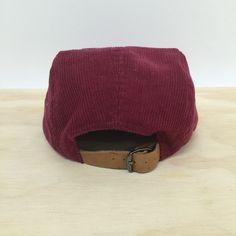 Alfie Maroon Corduroy 5 Panel Hat. Leather strap.