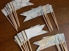 2 Dozen Cupcake Picks Vintage maps  //READY TO SHIP//. $10.00, via Etsy.