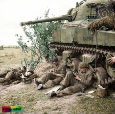 Sherman tank crew of 'C' Squadron, Royal Hussars, Armoured Brigade, rest and write letters home by the side of their vehicle, 10 June Military Photos, Military History, Normandy Invasion, Sherman Tank, Ww2 Tanks, World Of Tanks, Historical Pictures, Panzer, British Army