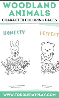 These Woodland Animals Character Coloring Pages make a great introduction of character traits for kids. There are 12 pages of lovely woodland-themed animals with character traits to color. Perfect for classrooms, home education and more! #christianprintables #charactereducation #kidsprintables #coloringprintables