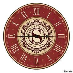 "12"" Burgundy Monogram Wall or Desktop Clock"