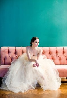 tulle, pink velvet, red lips and teal walls