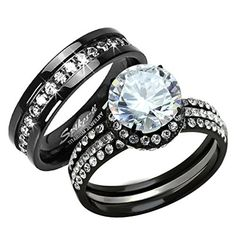 HIS HERS 3 PC BLACK STAINLESS STEEL  TITANIUM WEDDING ENGAGEMENT RING Band SET Size Womens 05 Mens 10 *** See this great product.