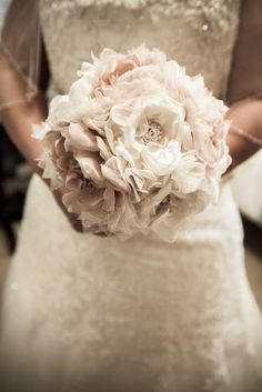 Wedding Bouquet Vintage Inspired Fabric Flower Brooch Bouquet  Ivory Champagne with Pearls Rhinestones and Lace Custom Made to Your Colors on Etsy, $245.00
