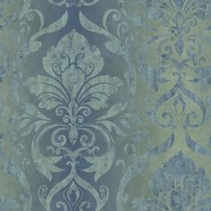 VIR98211 - Lulu Ocean Smiling Damask Wallpaper