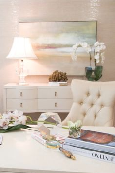 Have a glamorous home office with our simple design tips and tricks, like this fabulous blush and cream home office. Learn 7 designer tips and home office decor ideas to create an elegant, chic home office you'll be excited to work in. From home office setup and layout, to feminine office color ideas, and bringing the outside in with some lovely house plants for your office, you'll be ready to makeover your home office by the end of the article. Hadley Court Interior Design Blog.