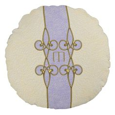 Elegant Art Deco Gold and Purple Vintage Monogram Round Pillow - home gifts ideas decor special unique custom individual customized individualized