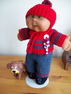 helmit hat, sweater, pants, shoes ☺ Free Crochet Pattern ☺