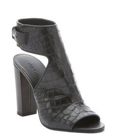 Vince black croc embossed leather 'Addie' open toe sandals