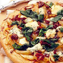 Spinatpizza mit Gorgonzola