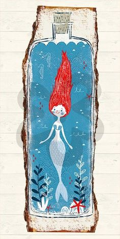 Canvas wall art featuring a quirky little mermaid in a bottle. Real Mermaids, Mermaids And Mermen, Ocean Canvas, Canvas Wall Art, Mermaid Illustration, Illustration Art, Vintage Cartoon, Merfolk, Oui Oui