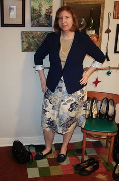 #Stitchfix Kensie navy blue blazer with beige top and my blue-beige-off white floral skirt with blue flats.  (I didn't feel like taking stockings or tights on and off, so imagine them on my pale legs.)