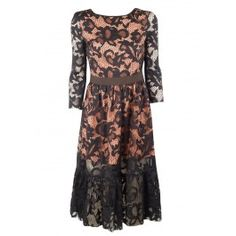 MSGM's refined Lace Dress is elegant for a special occasion or even dressed down for the office | Coral silk organza-lined floral-cutouts form an all over black lace | Fitted bodice | Rounded neckline transitioins into low V back | Three quarter length sleeves | Chocolate brown elastic banding around waist | Ruffled hem | Lined through body.  Self: 67% Polyamide, 33% Polyester | Fabric2: 70% Viscose, 29% Acetate, 1% Elastane | Lining: 100% Polyester  dry clean  Made in ItalyFINAL SALE