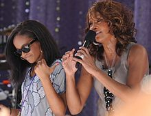 """Houston performing """"My Love Is Your Love"""" with her daughter Bobbi Kristina Brown on Good Morning America, September 1, 2009"""