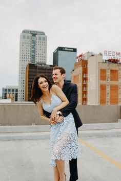 Just gotta find garage roof access. Couple Picture Poses, Couple Posing, Couple Shoot, Couple Pictures, Picture Ideas, City Engagement Photos, Engagement Photo Outfits, Engagement Couple, Engagement Shoots