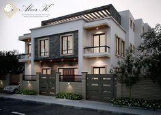 Classic villa exterior by kasrawy on DeviantArt Villa Design, Indian Architecture, Architecture Details, Modern House Plans, Modern House Design, Painted Brick Ranch, Building Elevation, Building Exterior, Modern Architects