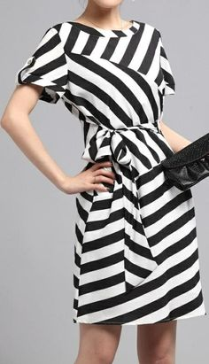 Black And White Striped Dress love this style