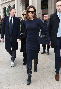 Victoria Beckham left the Duomo gothic cathedral after attending the memorial mass for her colleague and friend, the late Vogue Italia Editor, Franca Sozzani, who passed away on 22 December 2016, aged 66.  (February 2017)