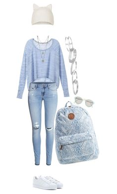 """""""Pale blue and white for school !"""" by azzra ❤ liked on Polyvore"""