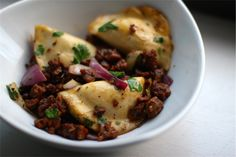 Potato, Spinach & Green Onion Pierogis with #Vegan Chorizo & Onions | Meet The Shannons