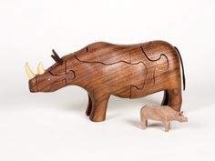 Beautiful handcrafted Rhino Puzzle (with surprise Baby Rhino inside!) - Incredible 3-D puzzle