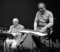 Pierre Boulez with Olivier Messiaen, 1988 (Foto: Ralph Fassey)