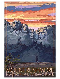 Mount Rushmore National Memorial, South Dakota - Sunset View (9x12 Art Print, Wall Decor Travel Poster) Lantern Press http://www.amazon.com/dp/B00N5D0EO6/ref=cm_sw_r_pi_dp_I0lGwb1DHAK58