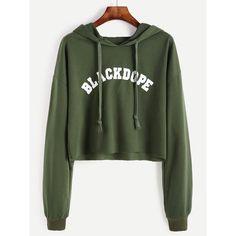 Drop Shoulder Letter Print Raw Hem Crop Hoodie (415 RUB) ❤ liked on Polyvore featuring tops, hoodies, army green, army green hoodie, crop tops, cropped hoodies, green hoodie and military green hoodie