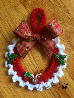 Hand Crochet Christmas Ornament, Christmas Ornament , wall hanging, etc. Hand crochet around 2 in. Crochet Christmas Wreath, Crochet Wreath, Crochet Christmas Decorations, Christmas Crochet Patterns, Crochet Ornaments, Holiday Crochet, Crochet Crafts, Hand Crochet, Crochet Projects