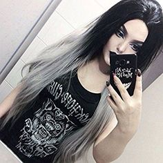 """Heahair 22"""" Straight Fashion Ombre Black to Gery Color Long Clip-on Hairpieces Synthetic Clip in Hair Extensions 7 Pieces"""