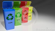 Four trash cans with different colors accordingly to the materials to be collected for recycling - 3D rendering