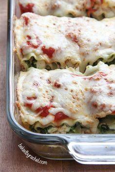 Pesto Chicken Lasagna Rolls Recipe from http://bakedbyrachel.com