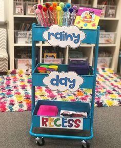 Meet newest addition to her classroom -- the Rainy Day Recess Cart 😍😍😍 Classroom Hacks, Classroom Organisation, Teacher Organization, Kindergarten Classroom, Future Classroom, School Classroom, Classroom Activities, School Teacher, School Fun