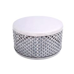 Nickel-plated Round Criss-cross Coffee Table