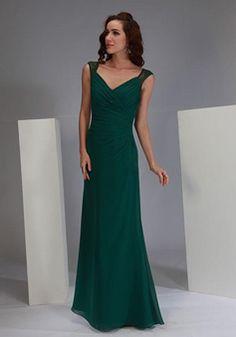 Floor Length Queen Anne Chiffon & Lace Sheath/ Column Sleeveless Asymmetric Waist Bridesmaid Dress - Angeldress.co.uk