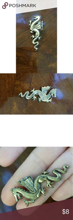One Vintage Dragon Earring 2.5 inch gold tone post earring, from the 80s. Dragon. Jewelry Earrings