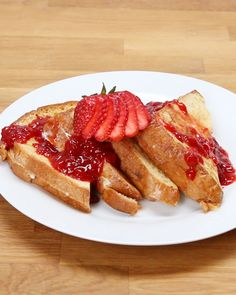 Ricotta Chocolate Chip Stuffed French Toast With Strawberry Syrup For Breakfast Or Brunch
