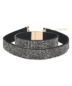 Loving this Crystal & Black Pavé-Set Choker Necklace & Bracelet on #zulily! #zulilyfinds