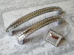 "3 3/4"" Dresser Pull / Drawer Pulls Handles Knobs Crystal Glass / Cabinet Handles Pull Knob / Furniture Handle Silver Clear Rhinestone 96"