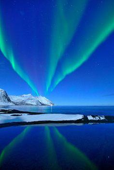 Reflections In Green by Daniel Montero. Beautiful green aurora borealis in Senja, Norway Beautiful Sky, Beautiful World, Beautiful Pictures, Beautiful Places, All Nature, Amazing Nature, Aurora Borealis, Places Around The World, Around The Worlds