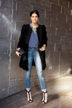 Street Style: Leandra Medine aka The Man Repeller rocks our DANNIJO Rafaella Necklace     (Image)