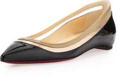 Christian Louboutin Paulina Pointed-Toe Ballet Flat, Black/Beige on shopstyle.com