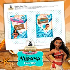 Moana Favor Bag  Moana Birthday Party  Instant por LythiumArt