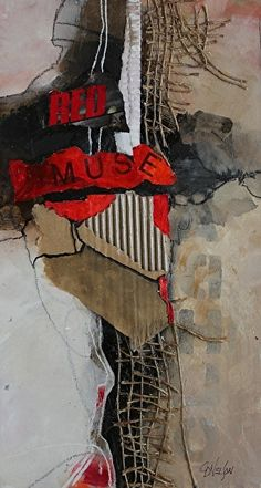 Red Muse   14007 by Carol Nelson mixed media ~ 12 x 6