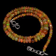"""56CRTS 3to7MM 18"""" ETHIOPIAN OPAL FACETED RONDELLE BEADS NECKLACE OBI1718 #OPALBEADSINDIA"""