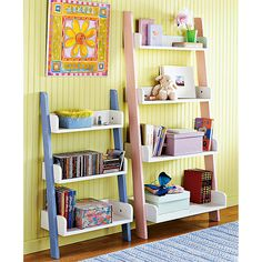 Leaning 4-Tier Bookcase, White/Pink & 3 Tier $59.88 & $39.88