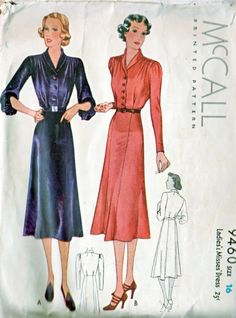 McCall 9460 | ca. 1937 Ladies' & Misses' Dress